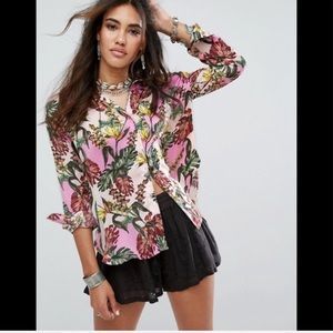 Free people tropical palm silk oversized popover